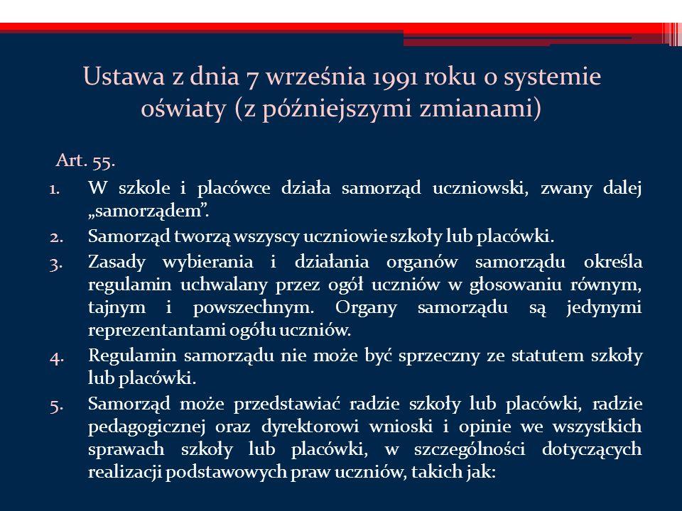 Ustawa z dnia 7 września 1991 roku o systemie oświaty (z późniejszymi zmianami) Art.