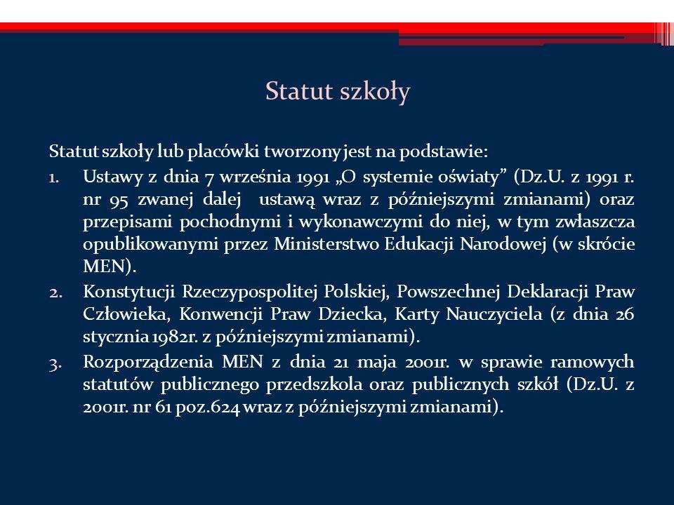 Statut szkoły Statut szkoły lub placówki tworzony jest na podstawie: 1.Ustawy z dnia 7 września 1991 O systemie oświaty (Dz.U.