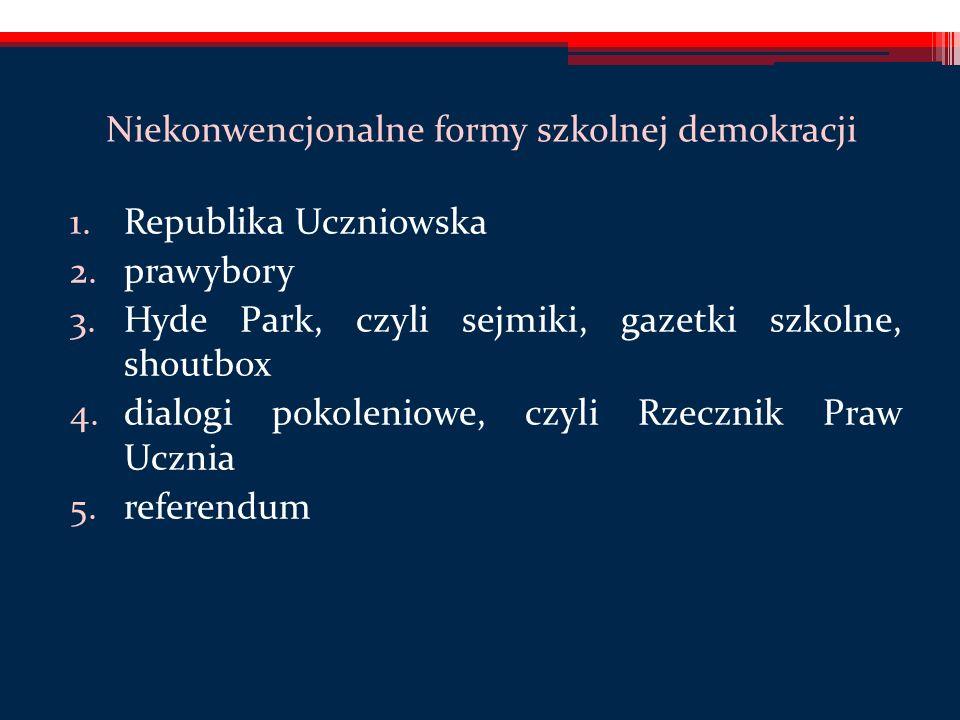 Niekonwencjonalne formy szkolnej demokracji 1.Republika Uczniowska 2.prawybory 3.Hyde Park, czyli sejmiki, gazetki szkolne, shoutbox 4.dialogi pokoleniowe, czyli Rzecznik Praw Ucznia 5.referendum