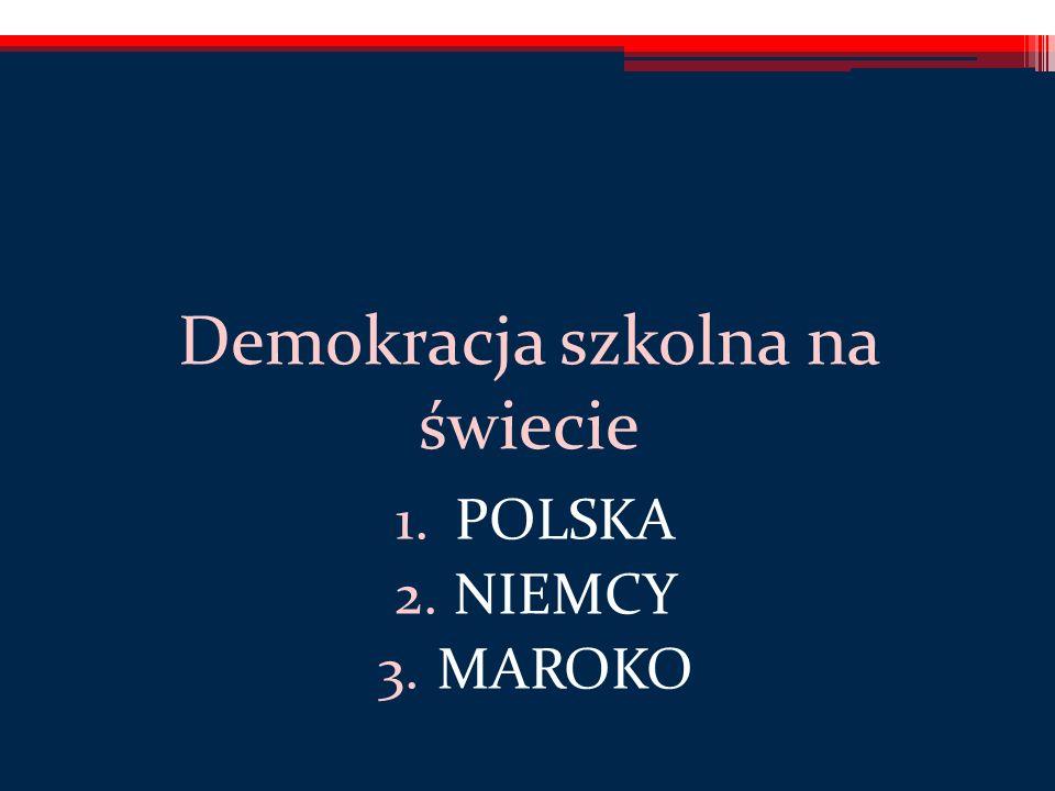 Demokracja szkolna na świecie 1.POLSKA 2.NIEMCY 3.MAROKO
