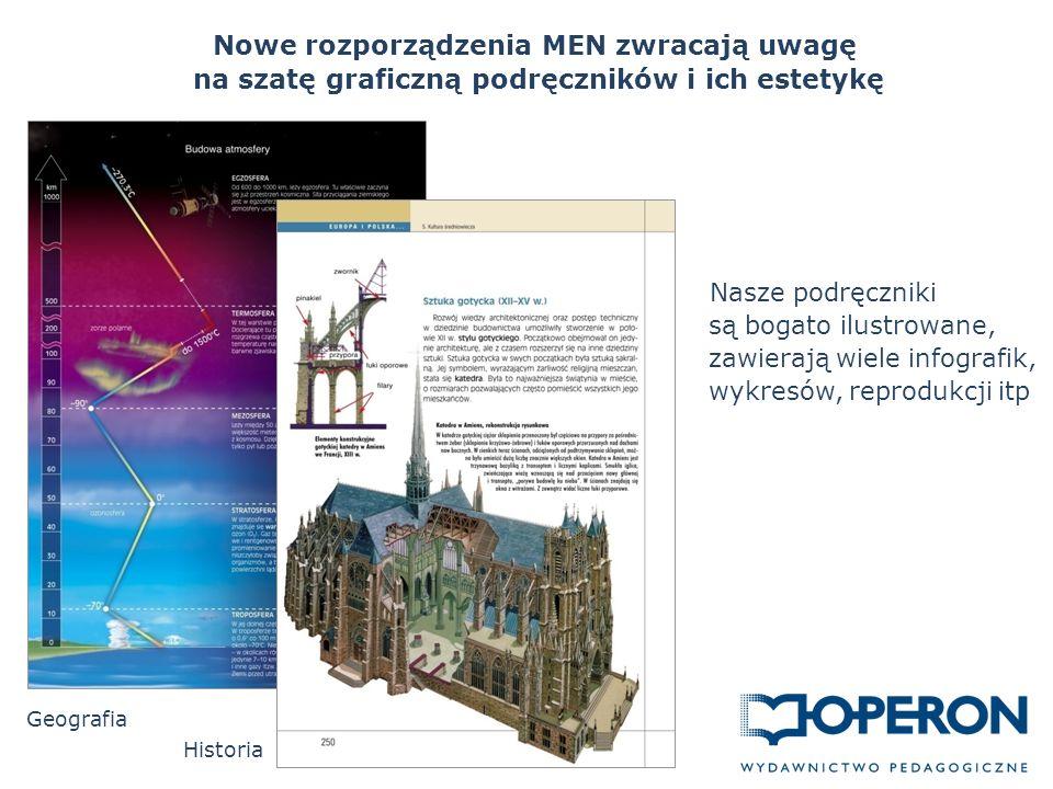 Nowe rozporządzenia MEN zwracają uwagę na szatę graficzną podręczników i ich estetykę Historia Nasze podręczniki są bogato ilustrowane, zawierają wiele infografik, wykresów, reprodukcji itp Geografia