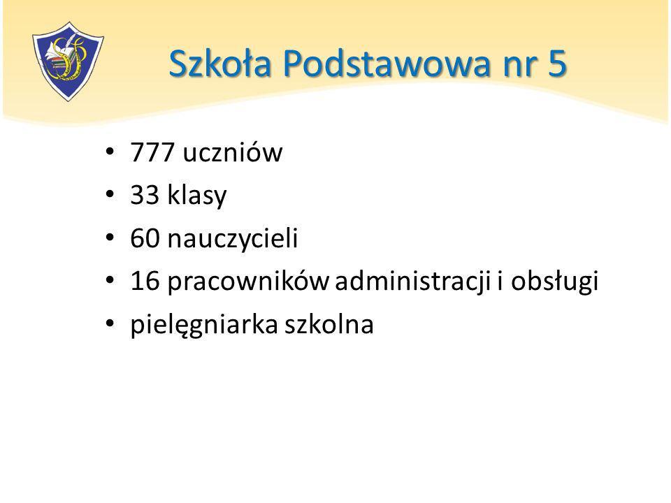 Szkoła Podstawowa nr 5 777 uczniów 33 klasy 60 nauczycieli 16 pracowników administracji i obsługi pielęgniarka szkolna