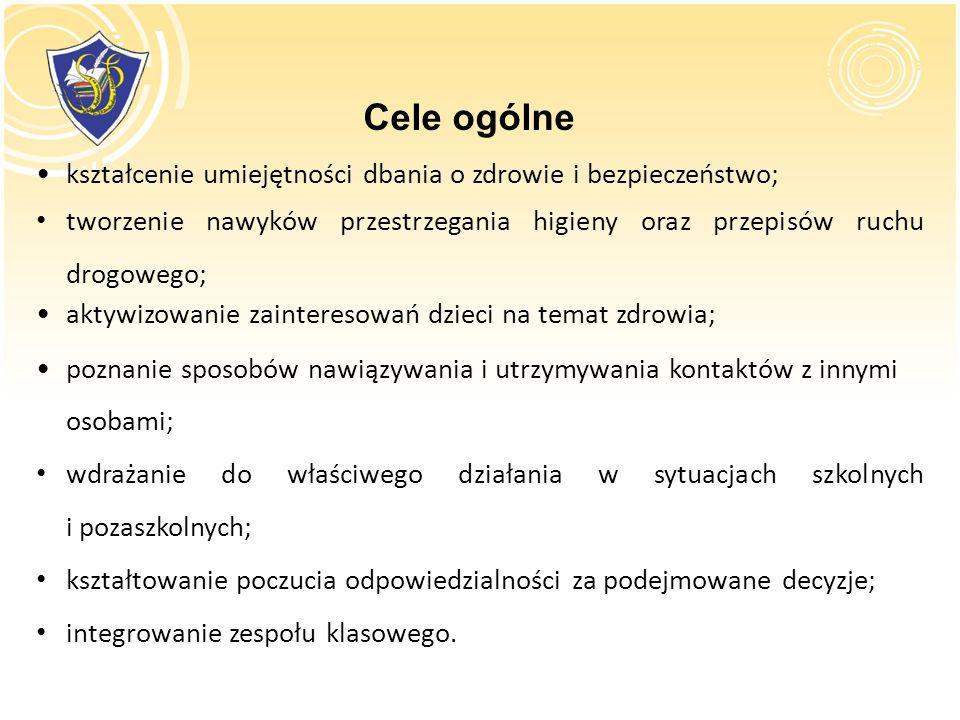 kształcenie umiejętności dbania o zdrowie i bezpieczeństwo; tworzenie nawyków przestrzegania higieny oraz przepisów ruchu drogowego; aktywizowanie zai