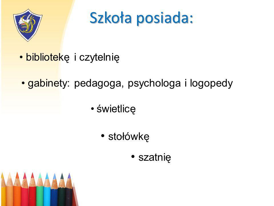 Szkoła posiada: gabinety: pedagoga, psychologa i logopedy świetlicę stołówkę bibliotekę i czytelnię szatnię