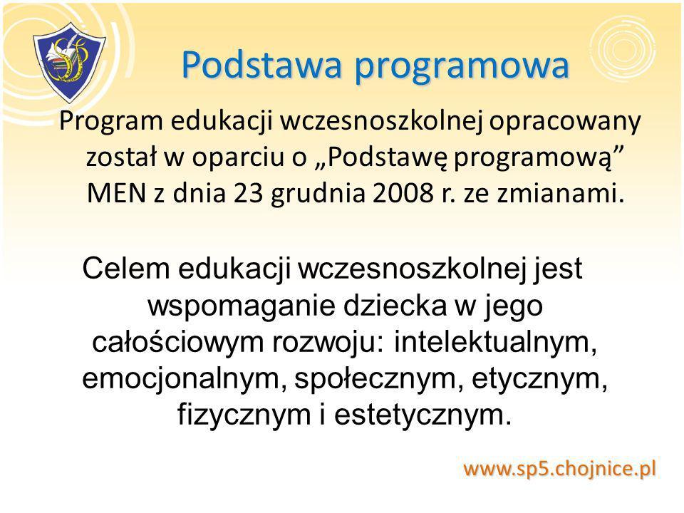 Podstawa programowa Podstawa programowa Program edukacji wczesnoszkolnej opracowany został w oparciu o Podstawę programową MEN z dnia 23 grudnia 2008
