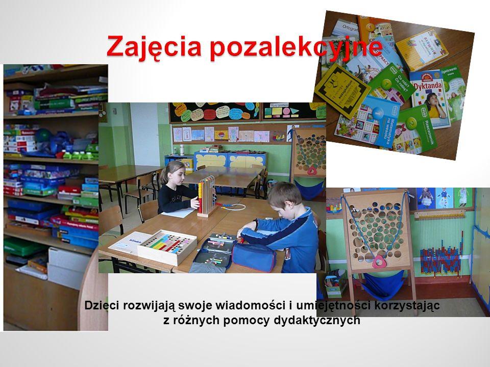 Dzieci rozwijają swoje wiadomości i umiejętności korzystając z różnych pomocy dydaktycznych