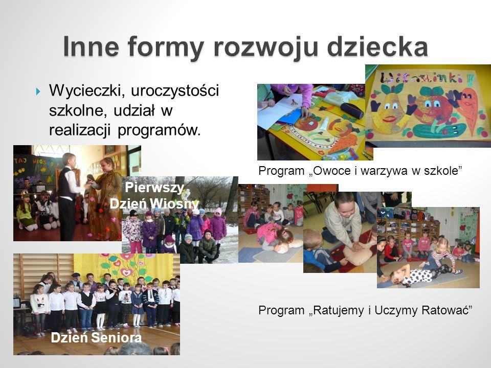 Wycieczki, uroczystości szkolne, udział w realizacji programów. Program Owoce i warzywa w szkole Program Ratujemy i Uczymy Ratować Pierwszy Dzień Wios