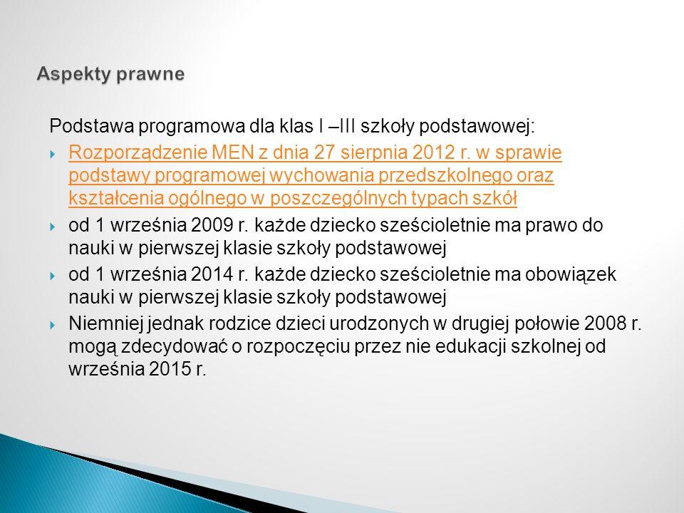 Podstawa programowa dla klas I –III szkoły podstawowej: Rozporządzenie MEN z dnia 27 sierpnia 2012 r. w sprawie podstawy programowej wychowania przeds