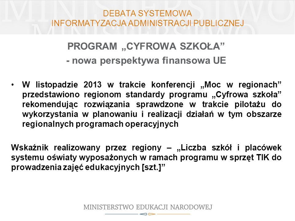 DEBATA SYSTEMOWA INFORMATYZACJA ADMINISTRACJI PUBLICZNEJ PROGRAM CYFROWA SZKOŁA - nowa perspektywa finansowa UE W listopadzie 2013 w trakcie konferenc