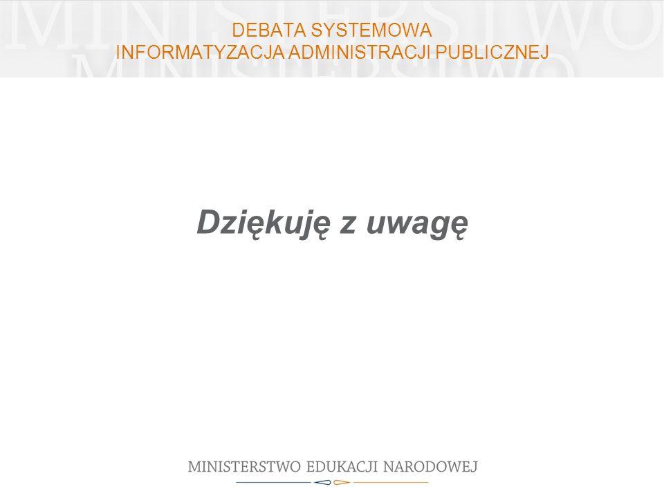 DEBATA SYSTEMOWA INFORMATYZACJA ADMINISTRACJI PUBLICZNEJ Dziękuję z uwagę
