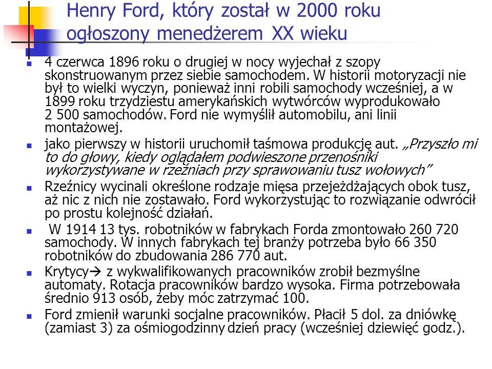 Henry Ford, który został w 2000 roku ogłoszony menedżerem XX wieku 4 czerwca 1896 roku o drugiej w nocy wyjechał z szopy skonstruowanym przez siebie s