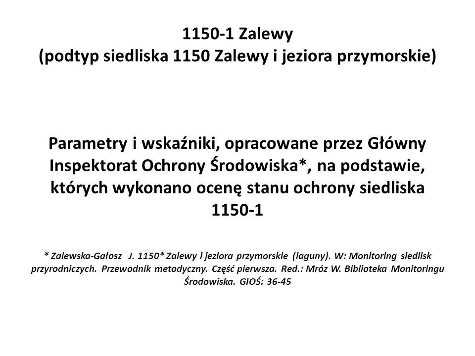 1150-1 Zalewy (podtyp siedliska 1150 Zalewy i jeziora przymorskie) Parametry i wskaźniki, opracowane przez Główny Inspektorat Ochrony Środowiska*, na podstawie, których wykonano ocenę stanu ochrony siedliska 1150-1 * Zalewska-Gałosz J.