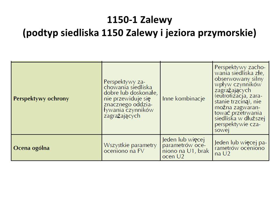 Waloryzacja parametrów i wskaźników oceny stanu ochrony siedliska 1150-1