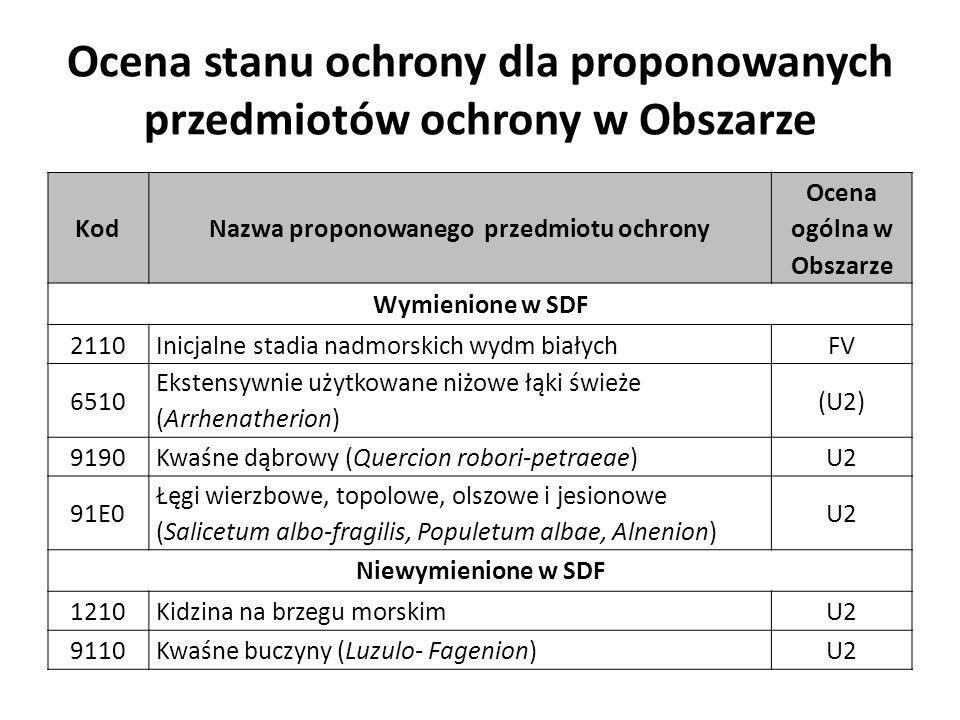 Ocena stanu ochrony dla proponowanych przedmiotów ochrony w Obszarze KodNazwa proponowanego przedmiotu ochrony Ocena ogólna w Obszarze Wymienione w SDF 2110Inicjalne stadia nadmorskich wydm białychFV 6510 Ekstensywnie użytkowane niżowe łąki świeże (Arrhenatherion) (U2) 9190Kwaśne dąbrowy (Quercion robori-petraeae)U2 91E0 Łęgi wierzbowe, topolowe, olszowe i jesionowe (Salicetum albo-fragilis, Populetum albae, Alnenion) U2 Niewymienione w SDF 1210Kidzina na brzegu morskimU2 9110Kwaśne buczyny (Luzulo- Fagenion)U2