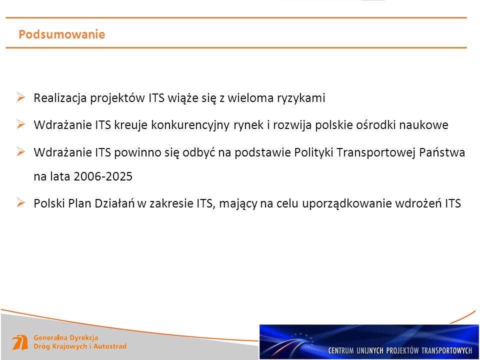 Podsumowanie Realizacja projektów ITS wiąże się z wieloma ryzykami Wdrażanie ITS kreuje konkurencyjny rynek i rozwija polskie ośrodki naukowe Wdrażani
