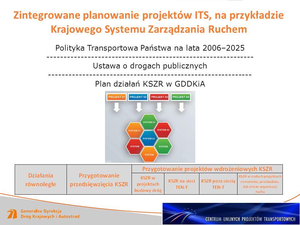 Zintegrowane planowanie projektów ITS, na przykładzie Krajowego Systemu Zarządzania Ruchem Polityka Transportowa Państwa na lata 2006–2025 -----------