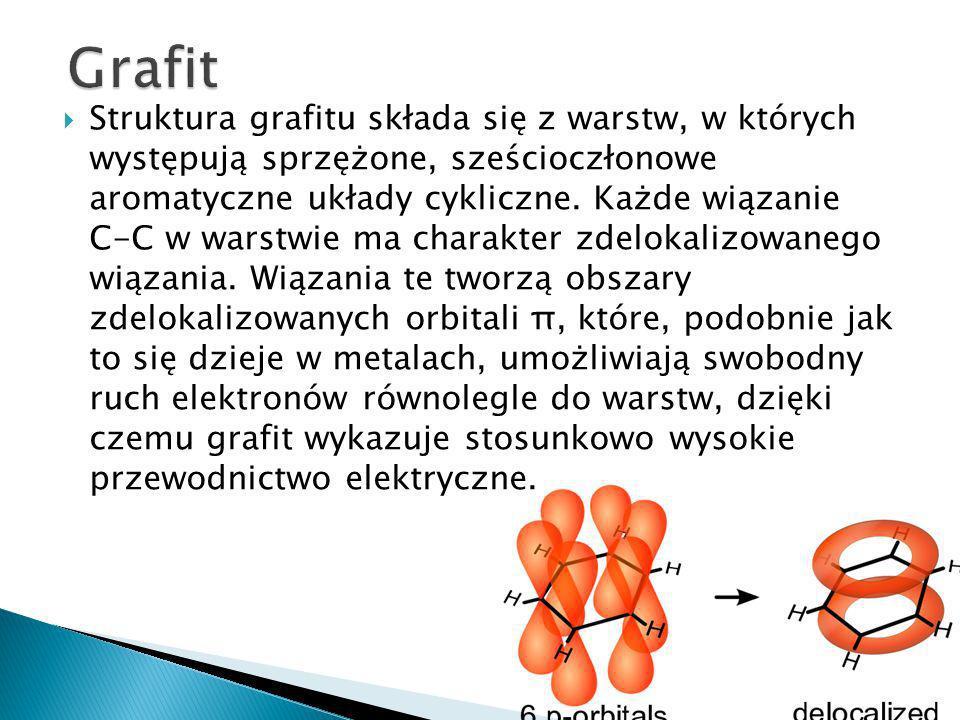 Struktura grafitu składa się z warstw, w których występują sprzężone, sześcioczłonowe aromatyczne układy cykliczne.