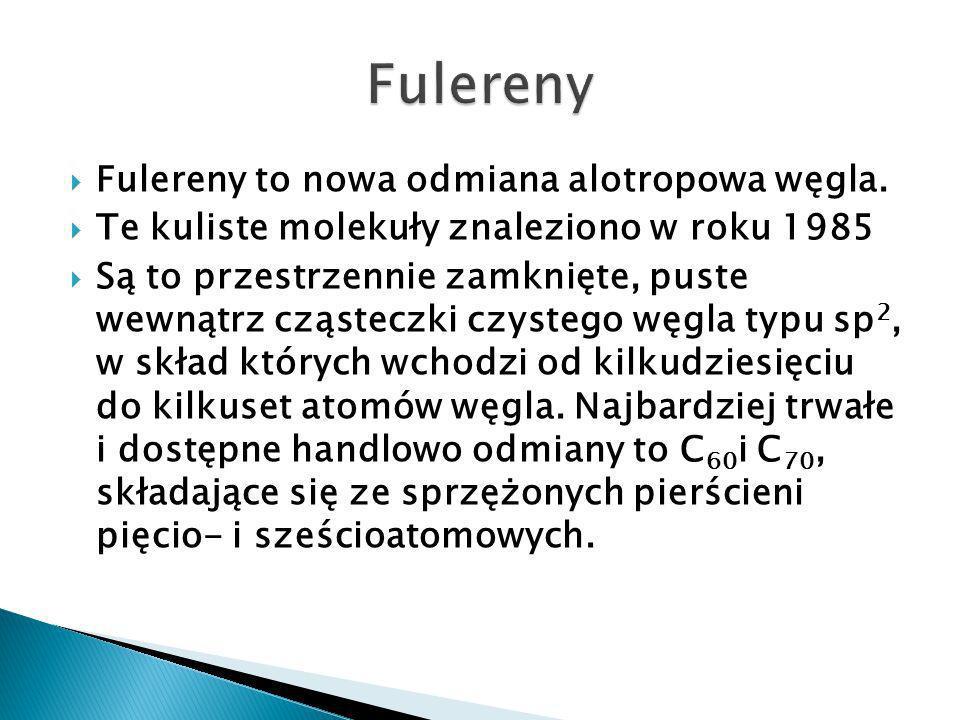 Fulereny to nowa odmiana alotropowa węgla.