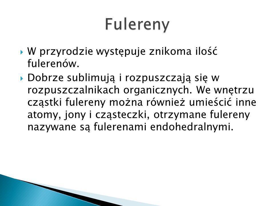 W przyrodzie występuje znikoma ilość fulerenów.