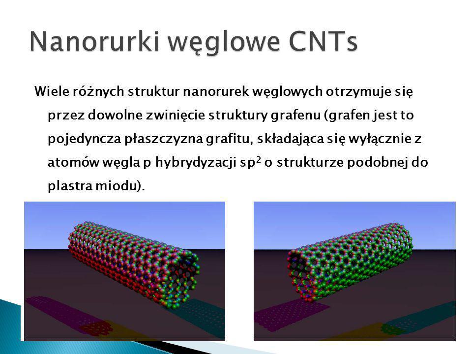 Wiele różnych struktur nanorurek węglowych otrzymuje się przez dowolne zwinięcie struktury grafenu (grafen jest to pojedyncza płaszczyzna grafitu, składająca się wyłącznie z atomów węgla p hybrydyzacji sp 2 o strukturze podobnej do plastra miodu).