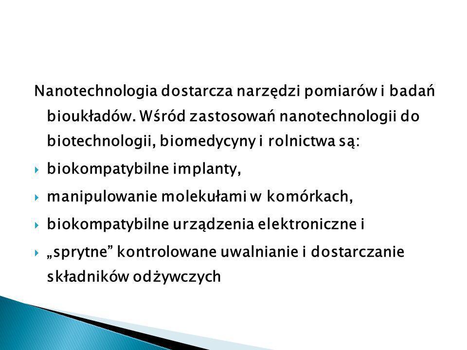 Nanotechnologia dostarcza narzędzi pomiarów i badań bioukładów.