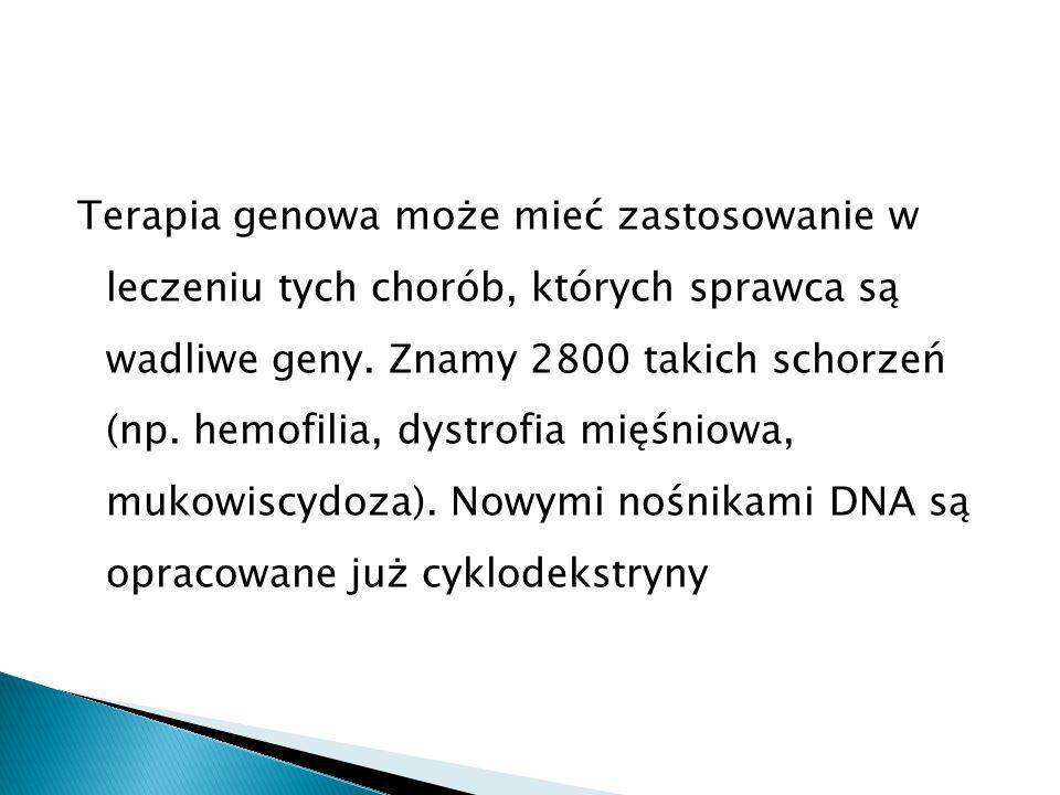 Terapia genowa może mieć zastosowanie w leczeniu tych chorób, których sprawca są wadliwe geny.