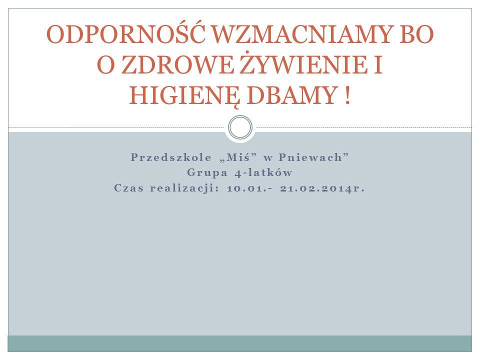 Przedszkole Miś w Pniewach Grupa 4-latków Czas realizacji: 10.01.- 21.02.2014r.
