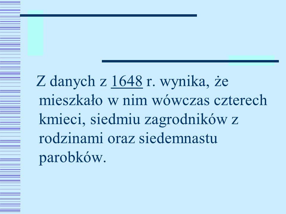 Z danych z 1648 r. wynika, że mieszkało w nim wówczas czterech kmieci, siedmiu zagrodników z rodzinami oraz siedemnastu parobków.1648