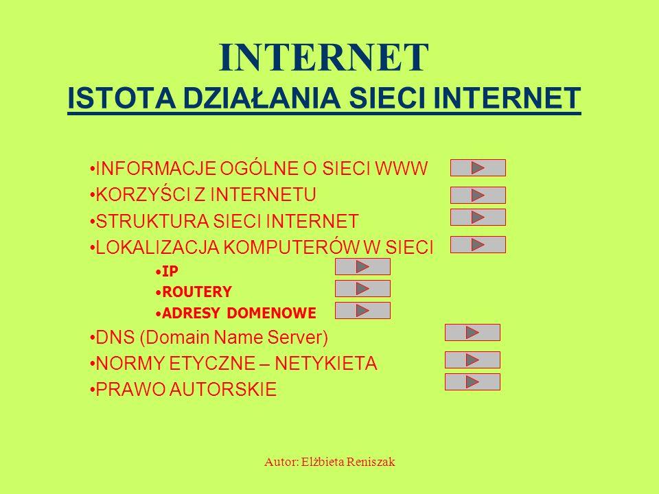 Autor: Elżbieta Reniszak INTERNET ISTOTA DZIAŁANIA SIECI INTERNET INFORMACJE OGÓLNE O SIECI WWW KORZYŚCI Z INTERNETU STRUKTURA SIECI INTERNET LOKALIZA