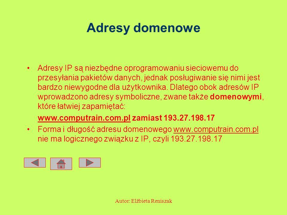 Autor: Elżbieta Reniszak Adresy domenowe Adresy IP są niezbędne oprogramowaniu sieciowemu do przesyłania pakietów danych, jednak posługiwanie się nimi