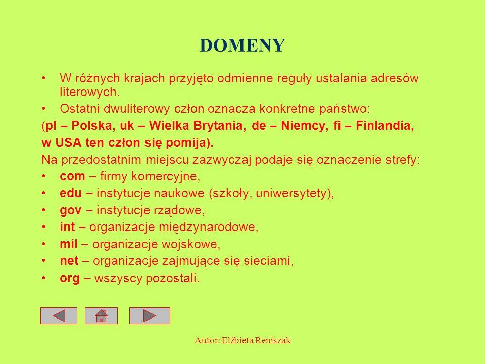 Autor: Elżbieta Reniszak DOMENY W różnych krajach przyjęto odmienne reguły ustalania adresów literowych. Ostatni dwuliterowy człon oznacza konkretne p