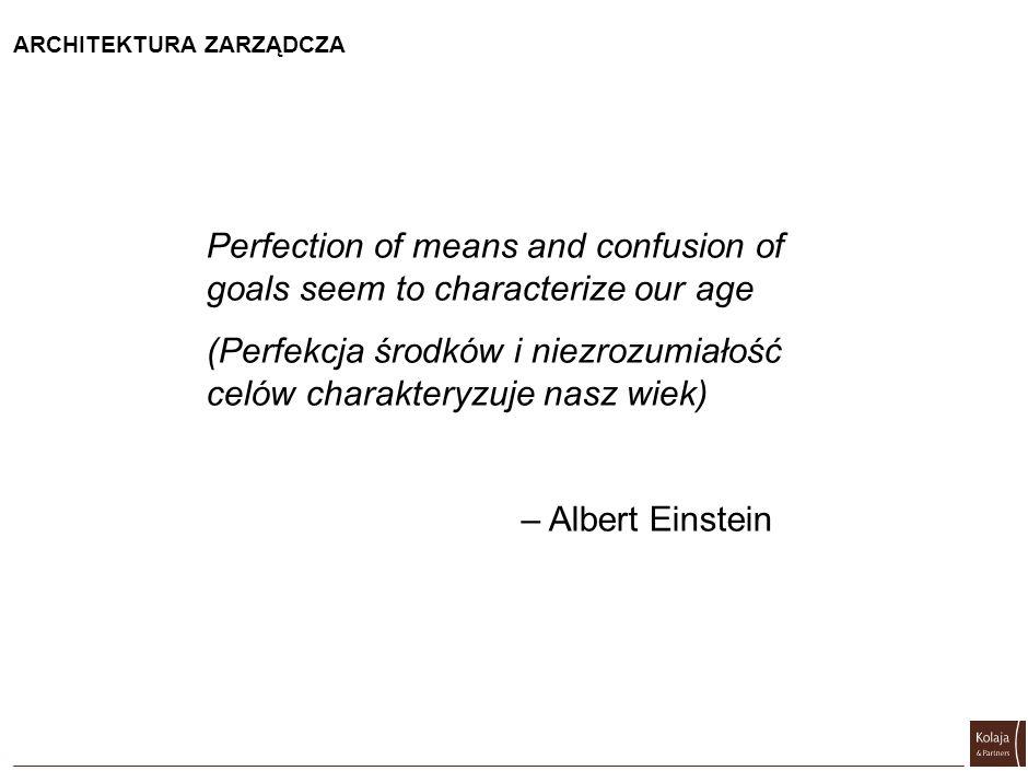 ARCHITEKTURA ZARZĄDCZA Perfection of means and confusion of goals seem to characterize our age (Perfekcja środków i niezrozumiałość celów charakteryzu