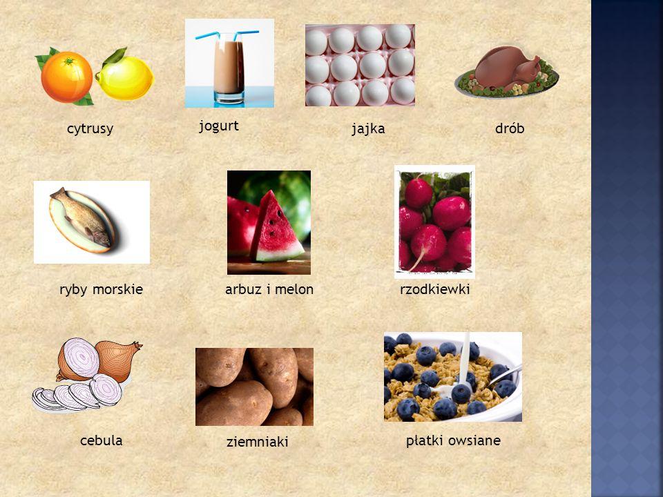 jogurtjogurt cytrusy jogurt jajkadrób ryby morskie cebula arbuz i melonrzodkiewki ziemniaki płatki owsiane