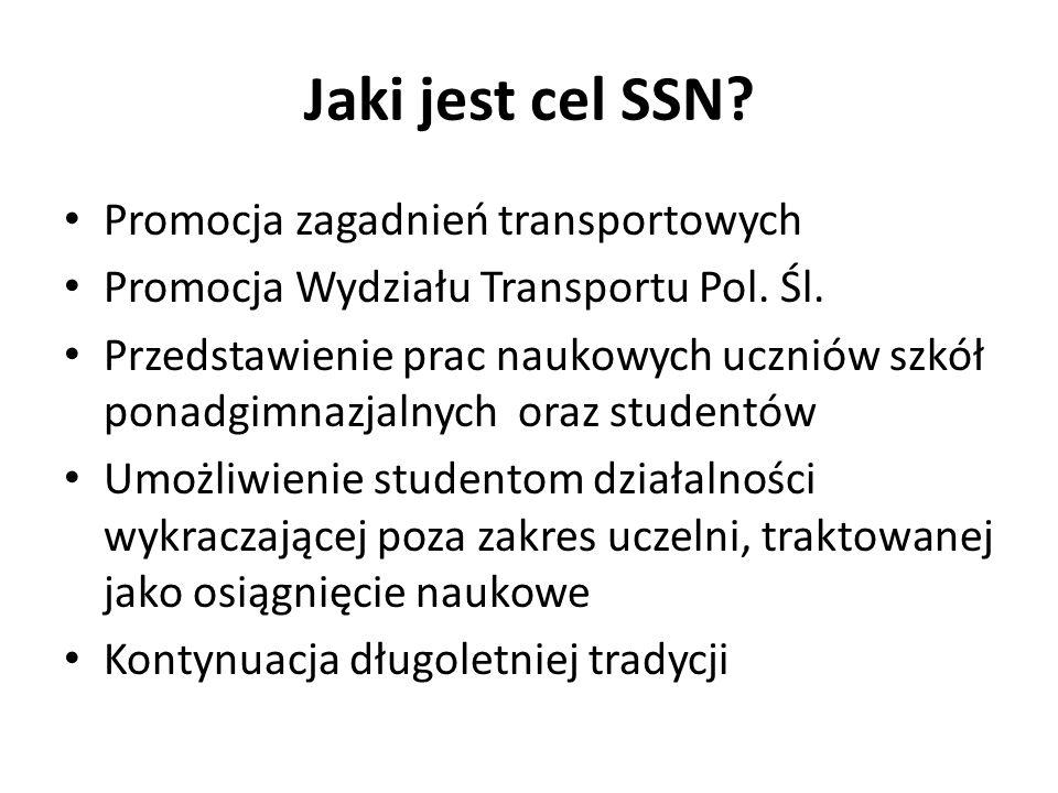 Jaki jest cel SSN? Promocja zagadnień transportowych Promocja Wydziału Transportu Pol. Śl. Przedstawienie prac naukowych uczniów szkół ponadgimnazjaln