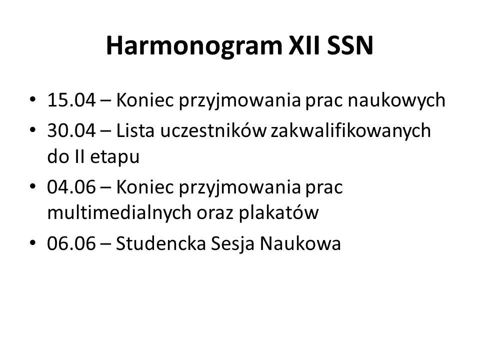 Harmonogram XII SSN 15.04 – Koniec przyjmowania prac naukowych 30.04 – Lista uczestników zakwalifikowanych do II etapu 04.06 – Koniec przyjmowania pra