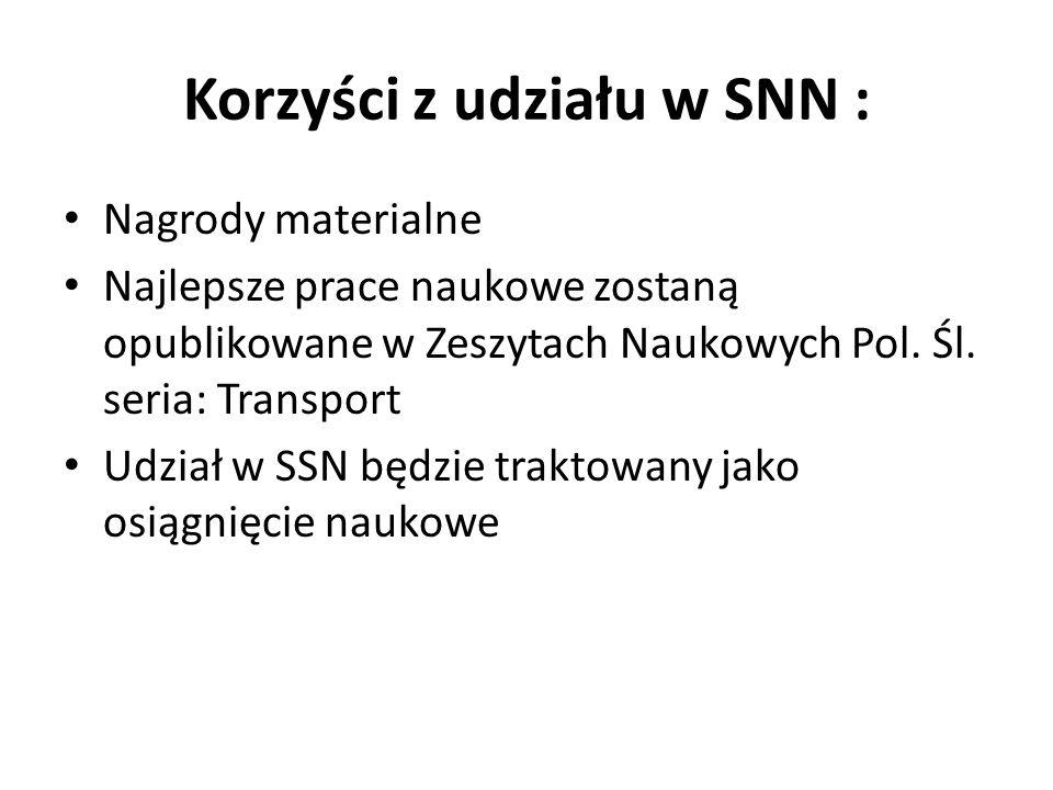 Korzyści z udziału w SNN : Nagrody materialne Najlepsze prace naukowe zostaną opublikowane w Zeszytach Naukowych Pol. Śl. seria: Transport Udział w SS