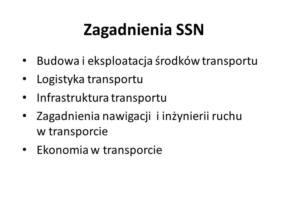 Zagadnienia SSN Budowa i eksploatacja środków transportu Logistyka transportu Infrastruktura transportu Zagadnienia nawigacji i inżynierii ruchu w tra
