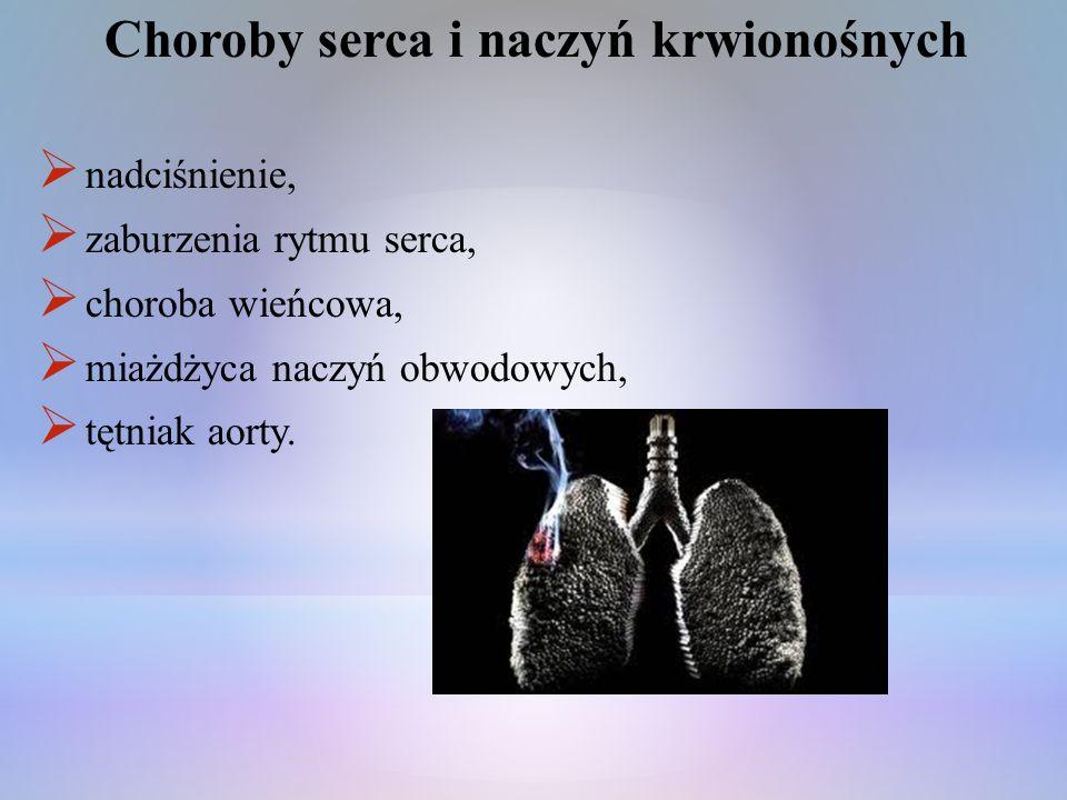 Choroby serca i naczyń krwionośnych nadciśnienie, zaburzenia rytmu serca, choroba wieńcowa, miażdżyca naczyń obwodowych, tętniak aorty.