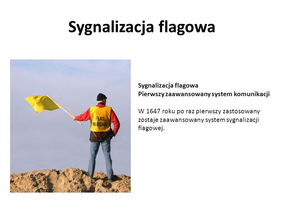 Sygnalizacja flagowa Pierwszy zaawansowany system komunikacji W 1647 roku po raz pierwszy zastosowany zostaje zaawansowany system sygnalizacji flagowe