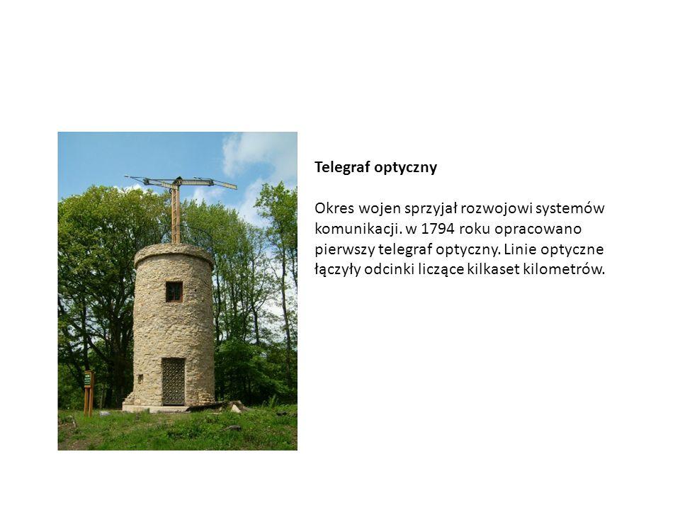 Telegraf optyczny Okres wojen sprzyjał rozwojowi systemów komunikacji. w 1794 roku opracowano pierwszy telegraf optyczny. Linie optyczne łączyły odcin
