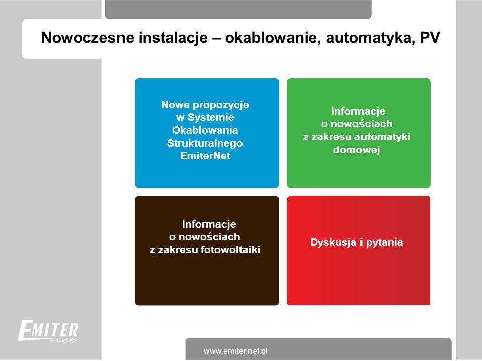 Nowe propozycje w Systemie Okablowania Strukturalnego EmiterNet Informacje o nowościach z zakresu automatyki domowej Informacje o nowościach z zakresu