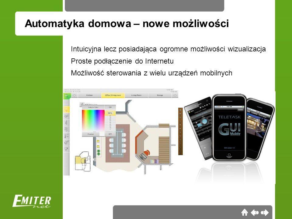 Automatyka domowa – nowe możliwości Intuicyjna lecz posiadająca ogromne możliwości wizualizacja Proste podłączenie do Internetu Możliwość sterowania z