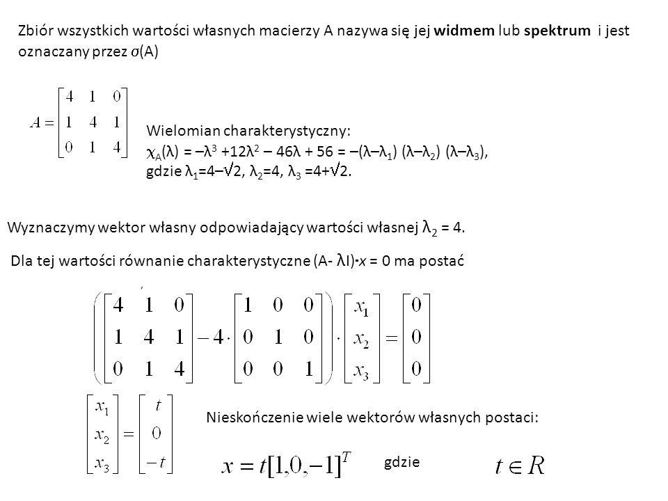 Zbiór wszystkich wartości własnych macierzy A nazywa się jej widmem lub spektrum i jest oznaczany przez (A) Wielomian charakterystyczny: A (λ) = –λ 3