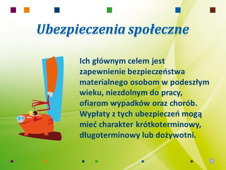 2 Ubezpieczenia społeczne Ich głównym celem jest zapewnienie bezpieczeństwa materialnego osobom w podeszłym wieku, niezdolnym do pracy, ofiarom wypadk