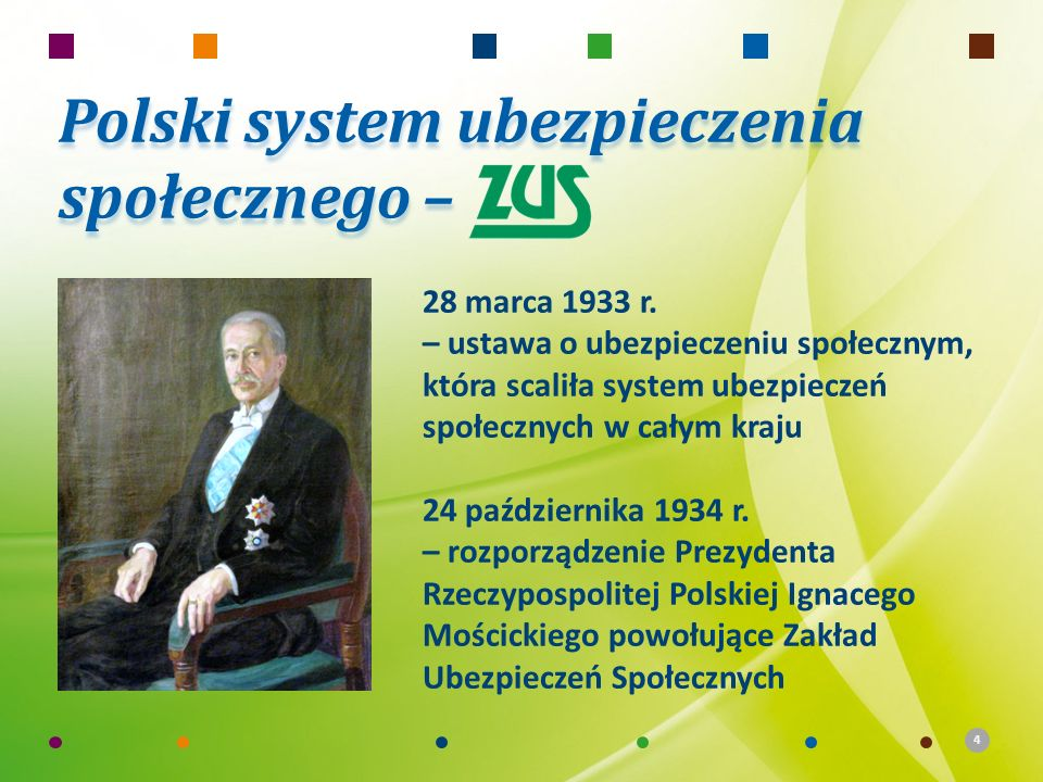 4 Polski system ubezpieczenia społecznego – 28 marca 1933 r. – ustawa o ubezpieczeniu społecznym, która scaliła system ubezpieczeń społecznych w całym