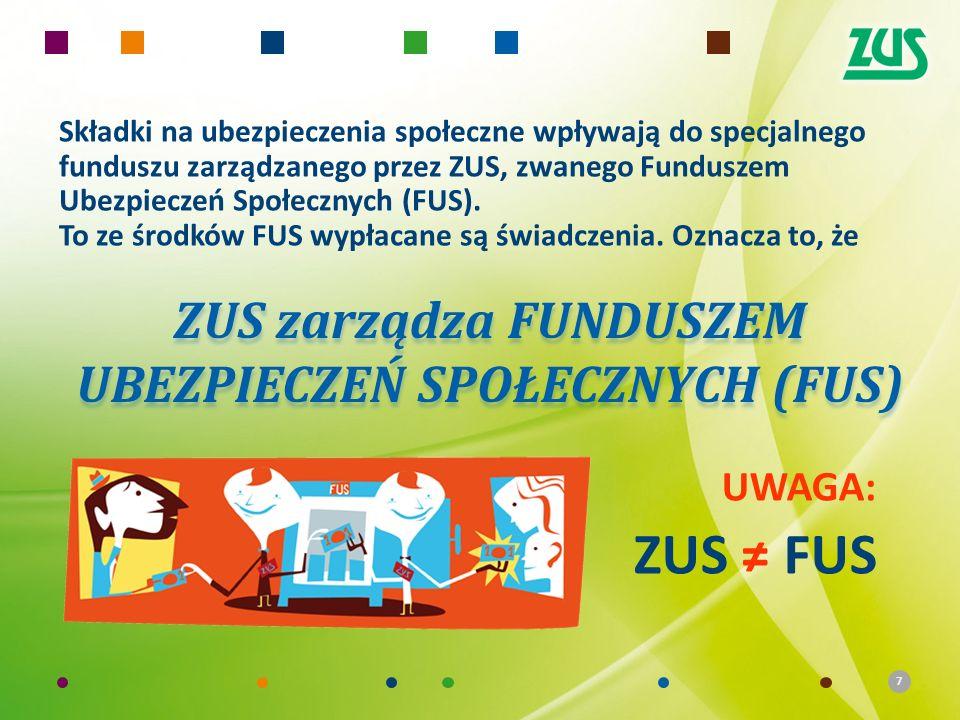 7 Składki na ubezpieczenia społeczne wpływają do specjalnego funduszu zarządzanego przez ZUS, zwanego Funduszem Ubezpieczeń Społecznych (FUS). To ze ś