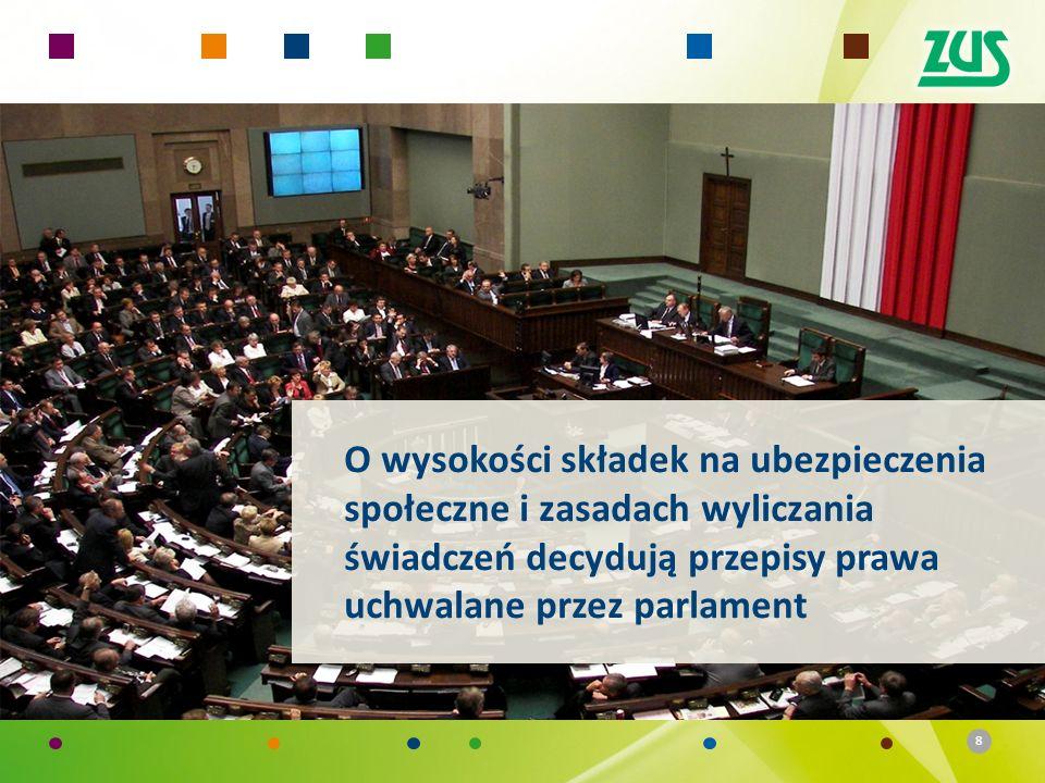 8 O wysokości składek na ubezpieczenia społeczne i zasadach wyliczania świadczeń decydują przepisy prawa uchwalane przez parlament