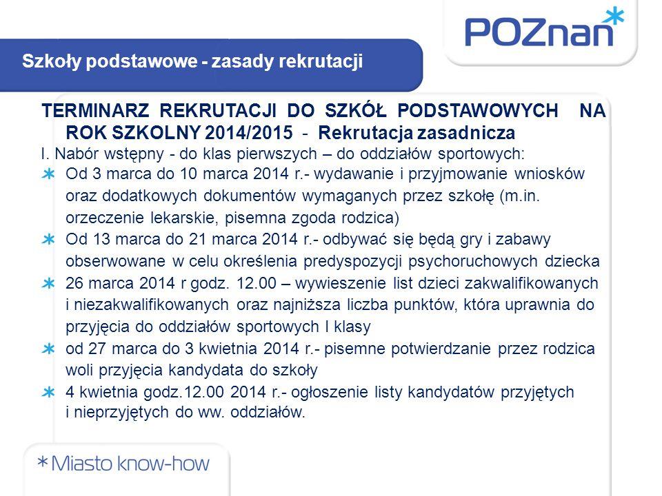 TERMINARZ REKRUTACJI DO SZKÓŁ PODSTAWOWYCH NA ROK SZKOLNY 2014/2015 - Rekrutacja zasadnicza I.