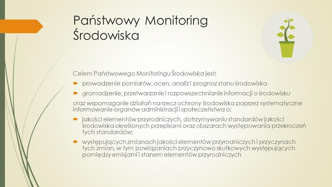 Państwowy Monitoring Środowiska Celem Państwowego Monitoringu Środowiska jest: prowadzenie pomiarów, ocen, analiz i prognoz stanu środowiska gromadzen