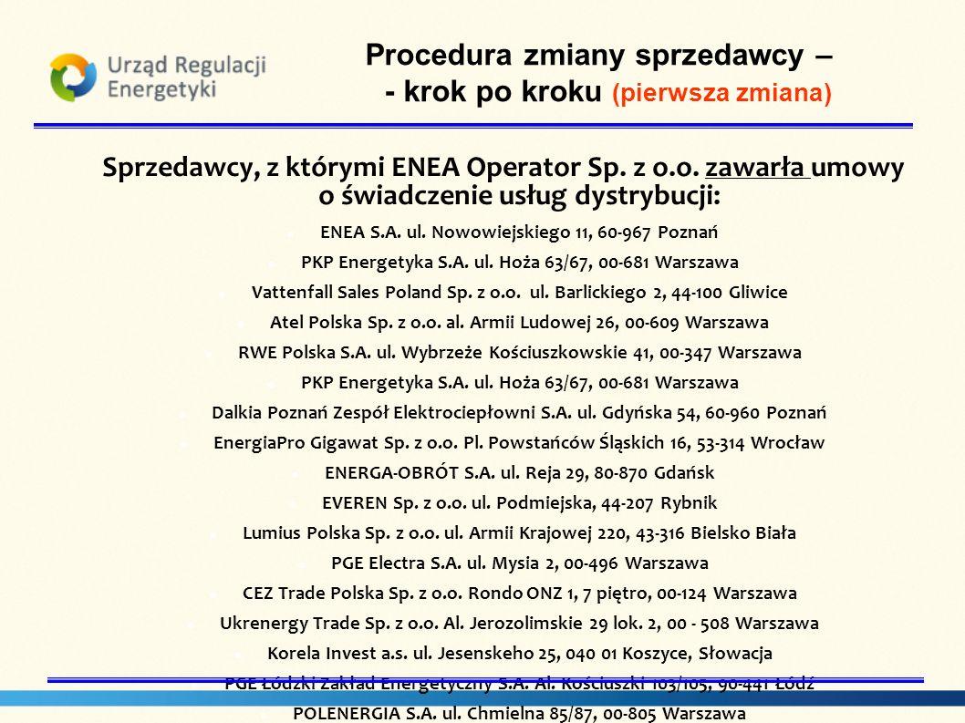 Sprzedawcy, z którymi ENEA Operator Sp. z o.o. zawarła umowy o świadczenie usług dystrybucji: ENEA S.A. ul. Nowowiejskiego 11, 60-967 Poznań PKP Energ